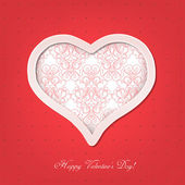 Valentine card with a heart cut out of paper. — Vecteur