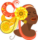 Beautiful dark-skinned girl in the carnival headdress. — Stock Vector
