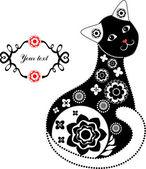Černé a bílé krajkové kočka — Stock vektor