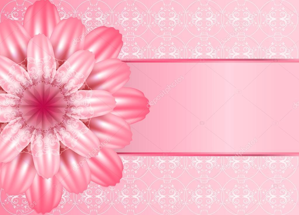 Hermosa Flor De Color Rosa Sobre Fondo De Encaje Una Gran
