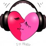 Heart with headphones icon — Stock Vector