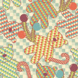 Christmas seamless pattern with bears and candy — Imagen vectorial
