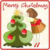 少女はクリスマス ツリーを飾る — ストックベクタ