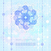 Merry Christmas greeting card, snowflake, — Stock Vector