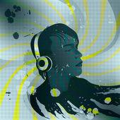 年轻人用耳机听听音乐、 cd rom,音乐海报封面 — 图库矢量图片