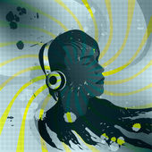 Young man with headphones listening to music, Cover for CD ROM, music poster — 图库矢量图片