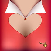 Neckline with cut-out heart-shaped — Stock Vector
