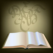 Open boek op een vintage achtergrond, kalligrafische letters — Stockvector