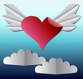 Paper heart, applique — Vettoriale Stock