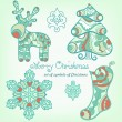 A set of traditional Christmas symbols — Stock Vector