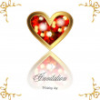 A beautiful wedding card, greeting card for Valentine's Day, ruby heart — Imagen vectorial