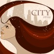 Woman with flowing hair comes to town, rain — Stock Vector