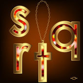 "Gold letters ""q, r, s, t"" with a precious stone pendant with chain, alphabet — ストックベクタ"