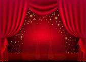 A scene with a red curtain and festive illuminations, background — Stock Vector