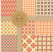 Vintage collection of seamless geometric patterns — Stock Vector