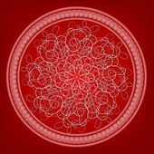 Openwork arabesque in a frame on a red background — Stockvektor