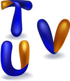3d blue and orange letters 't,u,v' Each letter is a separate object, the shadow can be easily removed — Stock Vector
