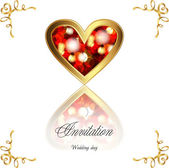 A beautiful wedding card, greeting card for Valentine's Day, ruby heart — Stock Vector