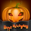 Card with a smiling pumpkin on Halloween — Imagen vectorial