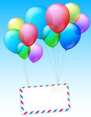 Two bundles of balloons are raising an envelope into the air — Stock Vector