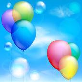 Festliche ballons und blasen gegen den blauen himmel und wolken — Stockvektor