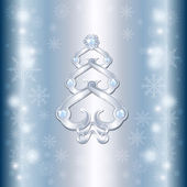 The unusual Christmas card with a silver Christmas tree and diam — Stock Vector