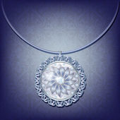 Luxury card with silver pendant with diamonds — Vettoriale Stock