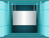 Interior com uma tela branca — Vetor de Stock