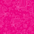 Seamless pattern with fantasy flowers on pink background — Stock Vector