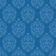 Seamless blue wallpaper with floral ornament — Stock Vector