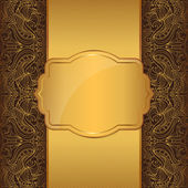 Luxury gold frame on a brown background with a vintage pattern — Stock Vector