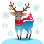 Cute baby deer with a scarf and a sweater with a Christmas bell — Vector de stock