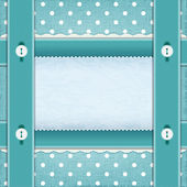 Frame with ribbons and buttons, fabric background. — Stock Vector