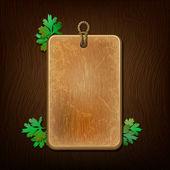 Fond en bois avec des feuilles de persil — Vecteur