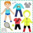 Paper doll with a set of clothes. Cute trendy boy. — 图库矢量图片