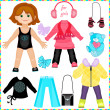 Paper doll with a set of clothes. Cute fashion girl. — Stockvectorbeeld
