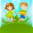 Boy and girl holding hands against the blue sky. — Stock Vector