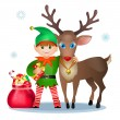 Funny elf and reindeer, christmas card — Stock Vector