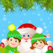 Santa Claus with a boy and a girl under the Christmas tree. — Image vectorielle