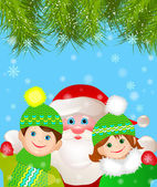 Santa Claus with a boy and a girl under the Christmas tree. — Stock Vector