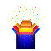 Caja con sorpresa. concierto festivo — Vector de stock