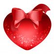 Heart with red bow — Vettoriali Stock