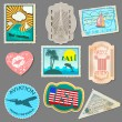 Set of stickers for travelers — Cтоковый вектор
