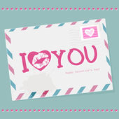 Envelope with Valentine's day. I love you — Vector de stock