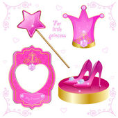 Set of magical objects for your little princess — Stock Vector