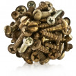 Ball of metal bolts, screws. — Stock Photo