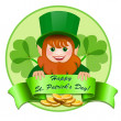 Stock Vector: Cheerful leprechaun with money. Happy St. Patrick's Day