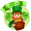 Stock Vector: Cheerful leprechaun with a pot of money. Happy St. Patrick's Day