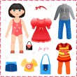 Paper doll with set of clothes. Cute fashion girl. — Vector de stock #38106915