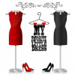 Black and red dress and shoes — Stock Vector